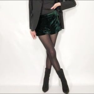 Endless Rose Velvet Green Shorts